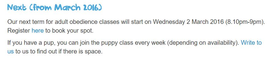 2016 03 Class schedule